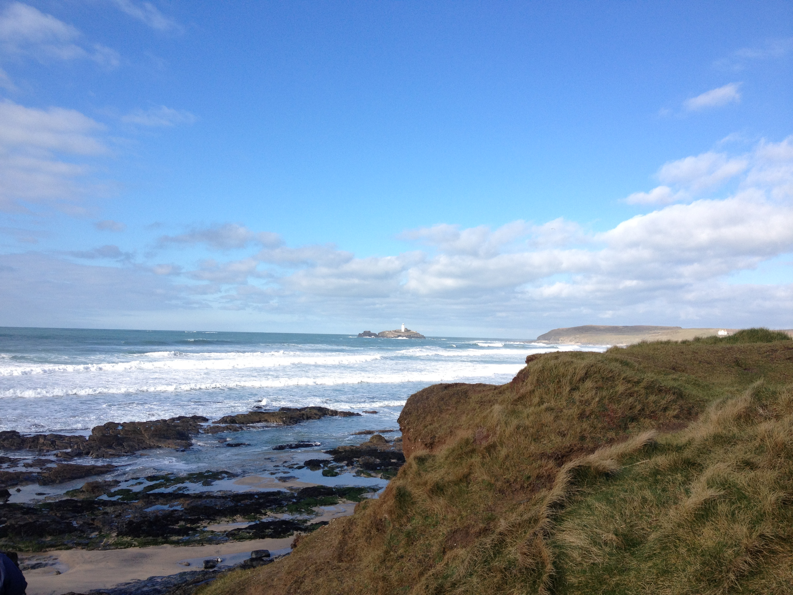 gwithian surf and godrevy lighthouse