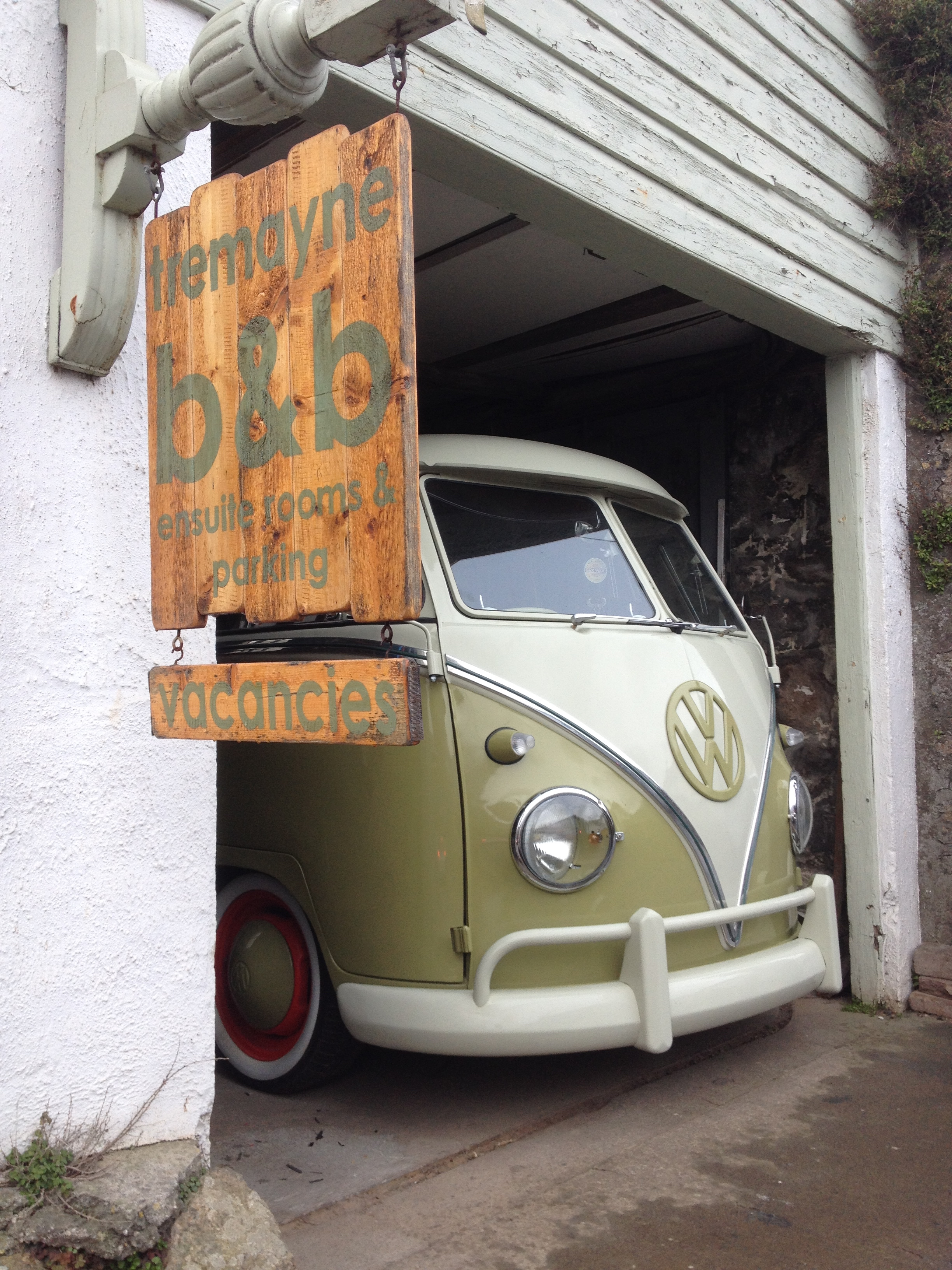 vw camper van at b and b in mousehole cornwall