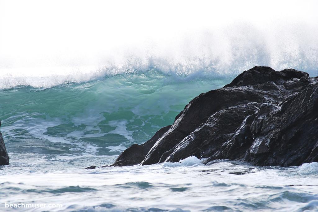 Church Cove Rolling Wave Hitting a Rock