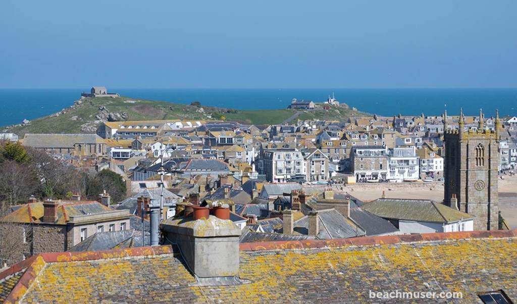St Ives Roof Tops out to the Island