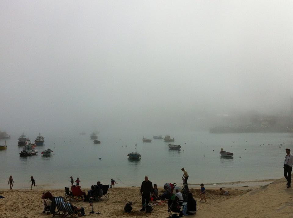 harbour beach in the fog