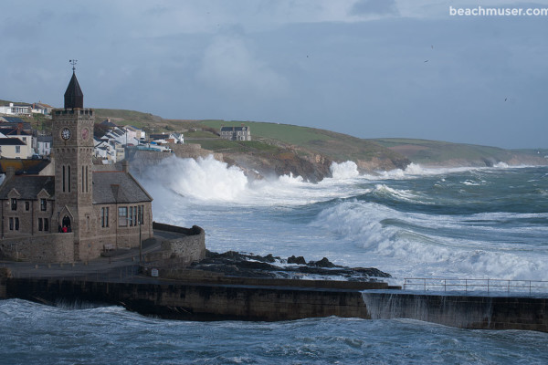 Porthleven Storm Sunlight Cliffs