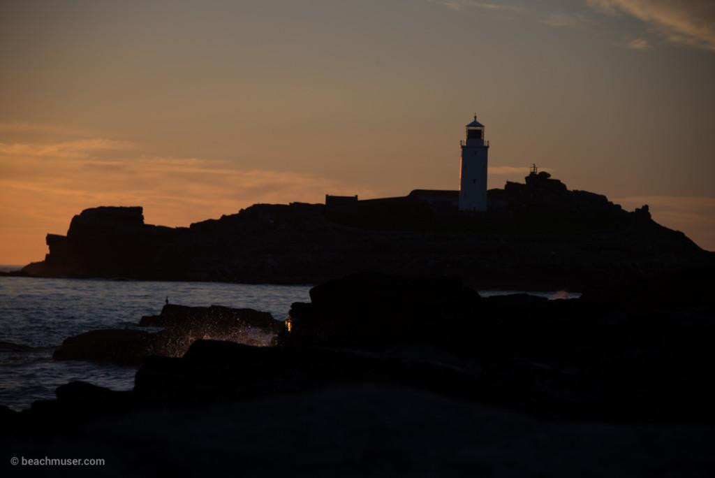 Godrevy Lighthouse Sunset Splash
